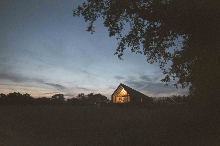 Landscape and exterior shot of Black Barn project, a family home in East Anglia