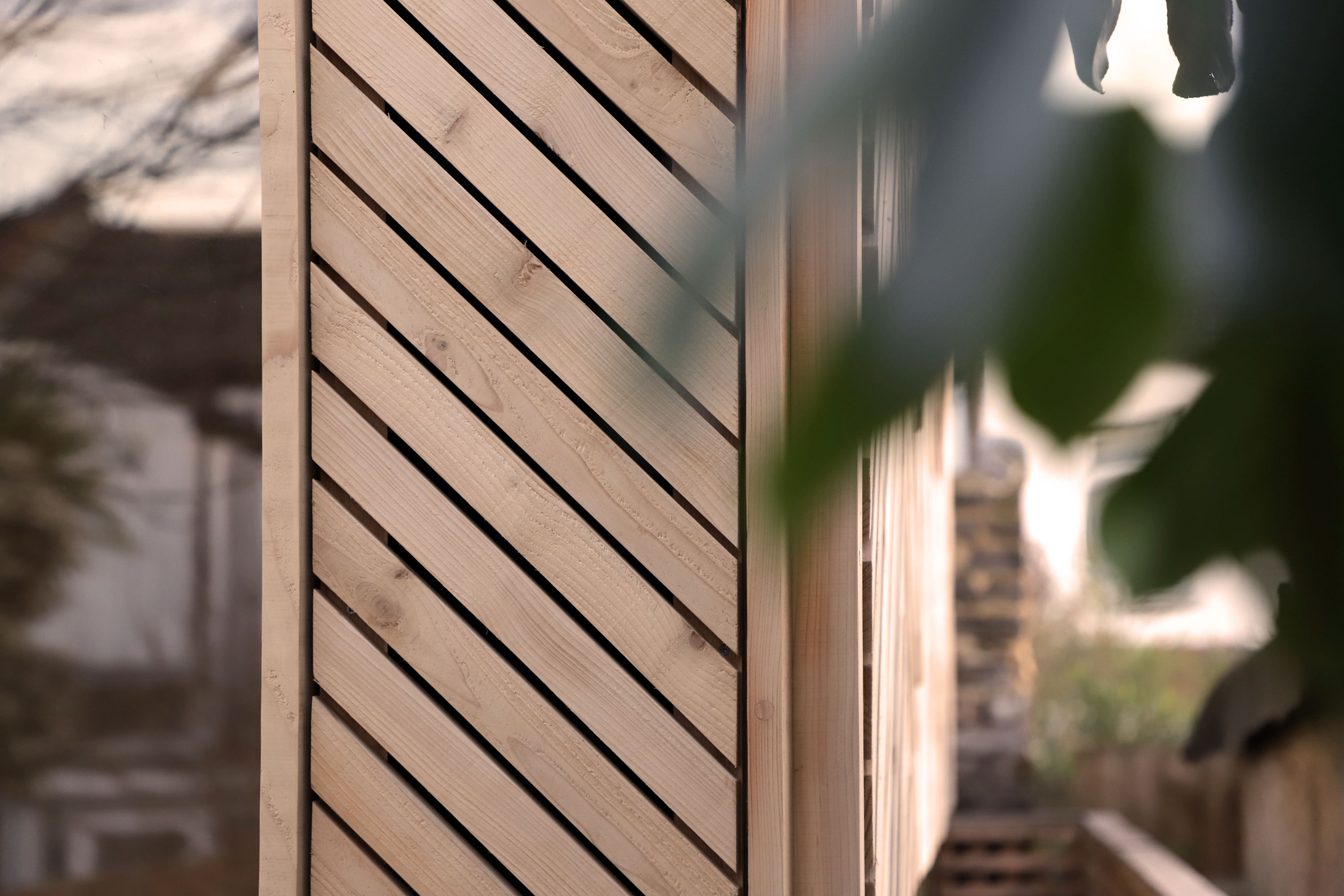 Exterior timber detail shot of the self build Manbey Pod located in London, built by using the U-Build system