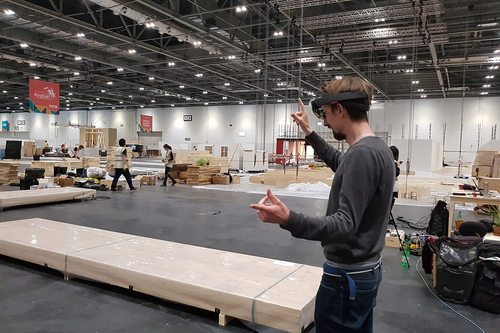 Studio Bark is setting up the AR Headsets for their show at Grand Designs Live